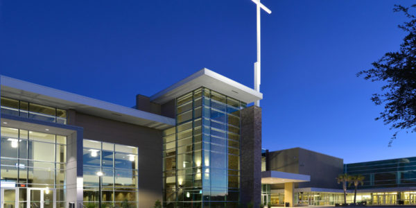 Exterior twilight, Compassion Christian Church, Savannah, GA