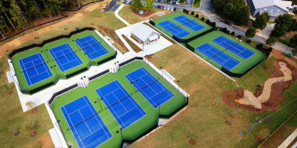Whitefield Academy Tennis Complex, aerial view, Cool New Media, Van Winkle Construction